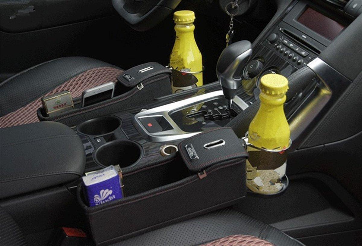 Auto Schlitz Taschen PU Leder Premium Autositz Auto Catcher Organizer mit Getr/ä nkehalter in Luxus Design /(Schwar/) Anzer