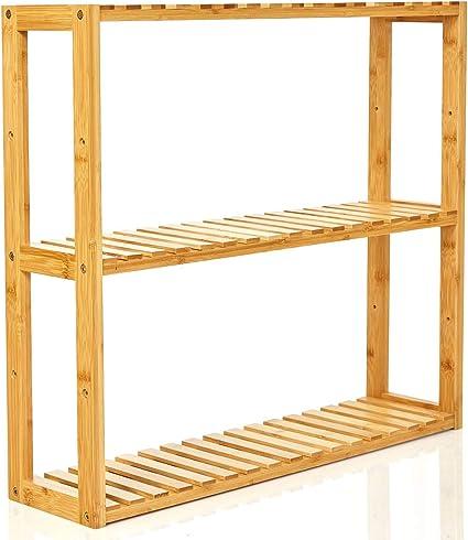 bambuswald© Estantería de Pared Hecho de 100% bambú ǀ Estante para baño o Cocina con 3 Niveles - sólido - Natural - Decorativo - práctico ǀ Estante ...