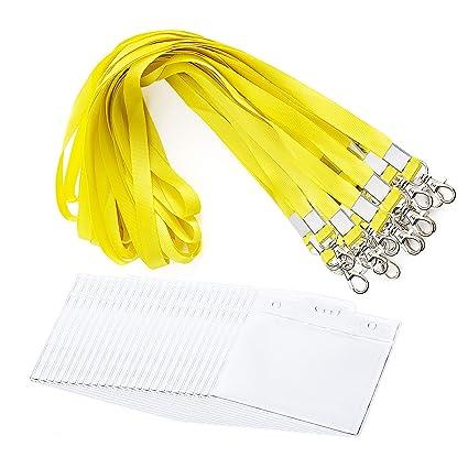 24 Piezas Fundas de Tarjetas de Identificación - MOOKLIN Funda Portatarjeta Transparente con Cordón de Tarjeta Amarillo brillante para Oficina, ...