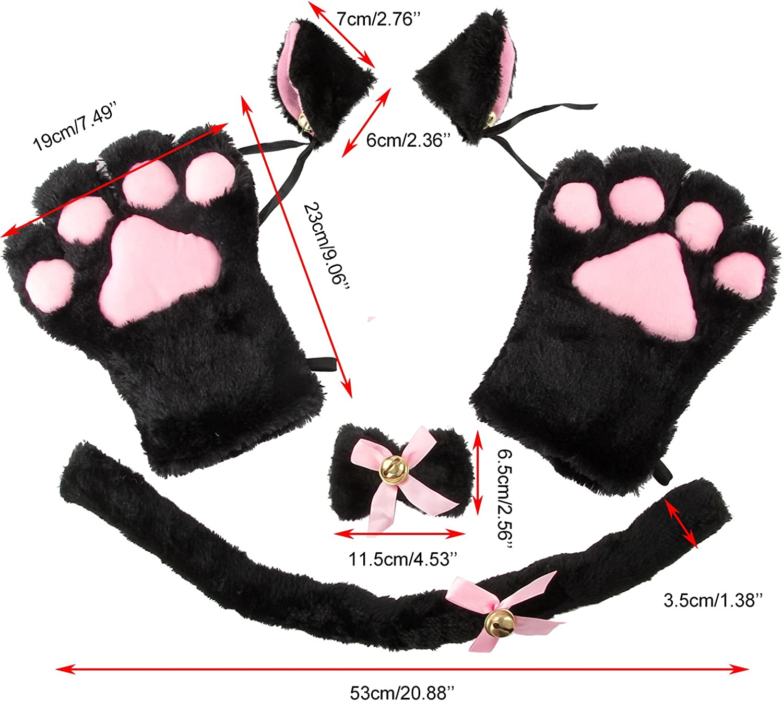 Acecharming 4pcs Cat Cosplay Fancy Costume Neko Anime Costume Lolita Gothic Set