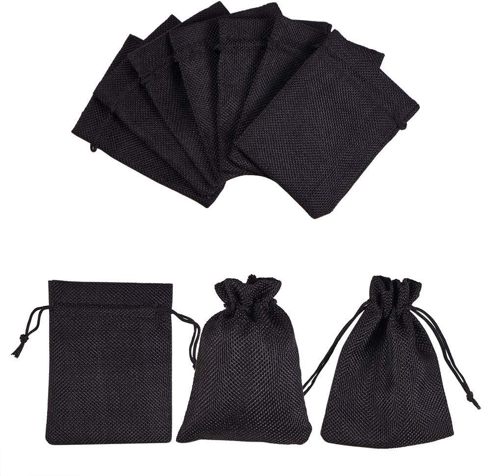 nbeads 30 pi/èces Sacs de Jute Emballage de Cadeaux et Bricolage 12x9cm Pochettes /à Bijoux Noires favorisent Les Sacs avec Cordons pour Les Cadeaux de Mariage