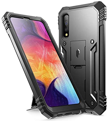 Galaxy A50 Rugged Case with Kickstand, Poetic Full-Body Dual-Layer Shockproof Protective Cover, Built-in-Screen Protector, Revolution Series, Defender ...