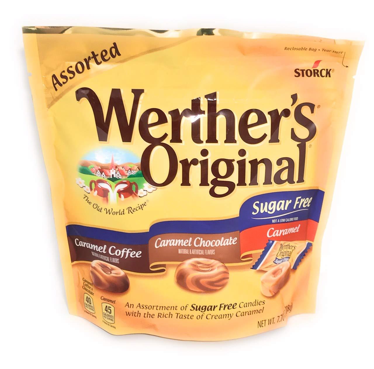 Werther's Original Sugar Free Assorted 7.7oz. Caramel Coffee, Caramel Chocolate, Caramel