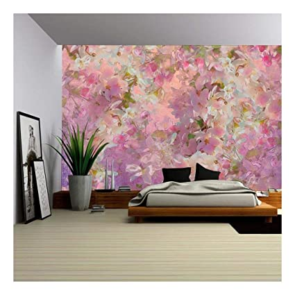 Wall26 Seamless Pattern With Spring Cherry Blossom Painting Style Floral Art Removable Wall Mural Self Adhesive Large Wallpaper 100x144
