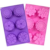 YGEOMER 2 PCS 6 Cavity Assorted Silicone Flower Soap Mold DIY Soap Mold Handmade Chocolate Biscuit Cake Muffine Silicone…