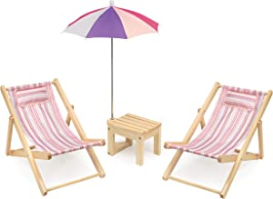 Badger Basket Two Doll Beach Chair Set with Table & Umbrella (Fits American Girl Dolls), Pink/Multi