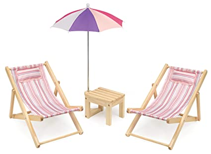 Pleasant Badger Basket Two Doll Beach Chair Set With Table Umbrella Fits American Girl Dolls Pink Multi Andrewgaddart Wooden Chair Designs For Living Room Andrewgaddartcom
