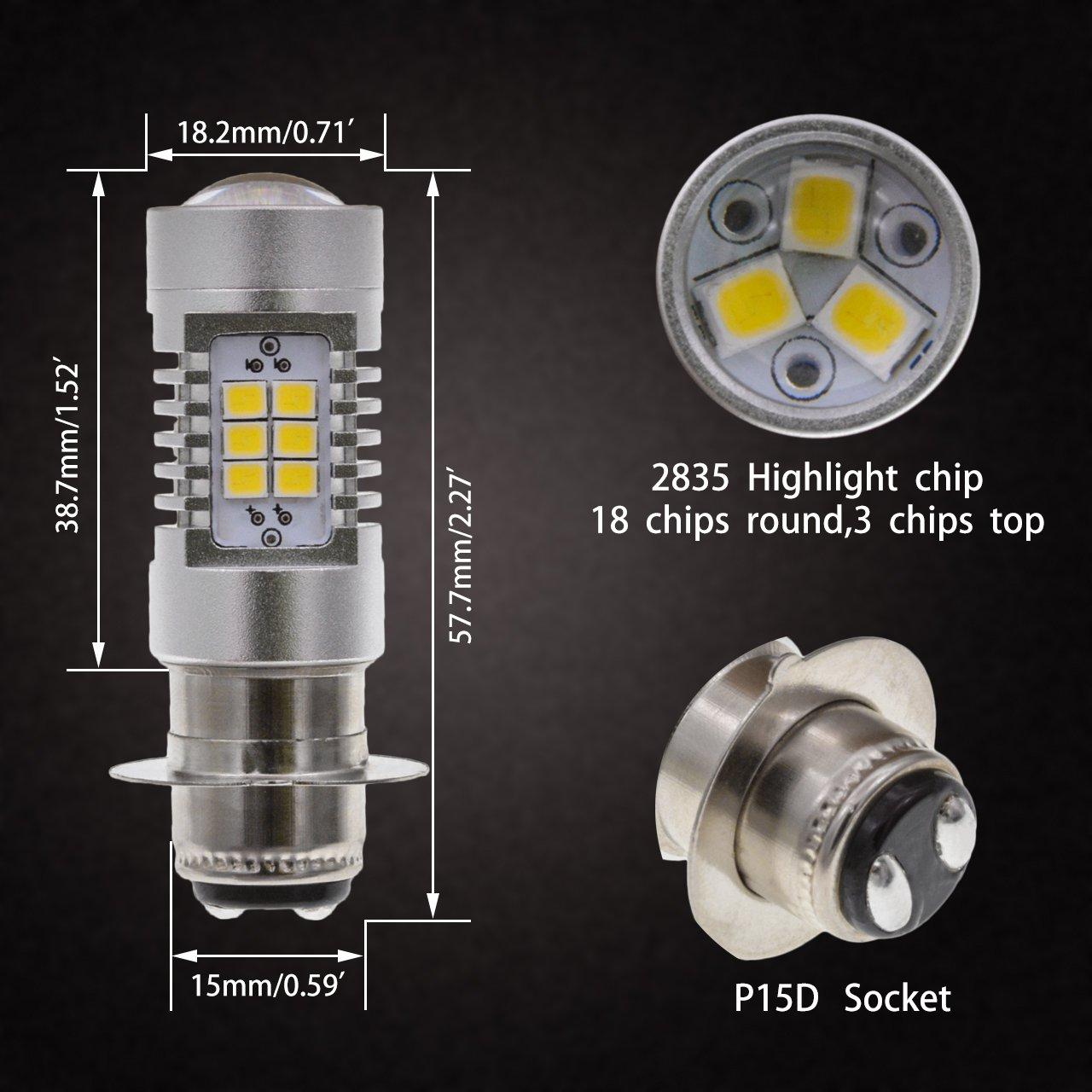 Paquet de 2 TUINCYN P15D H6M LED Ampoule Phare de moto Ampoule antibrouillard 2835 21SMD Feu de circulation diurne DRL avec lentille en aluminium 10.5W CC 12V Blanc x/énon