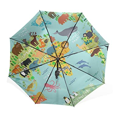Kisy women teens umbrella windproof compact cartoon cute wild kisy women teens umbrella windproof compact cartoon cute wild animals world map fashion folding travel rain gumiabroncs Images