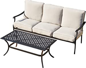 LOKATSE HOME Outdoor Loveseat 3-Seater Sofa Chair Patio 2-Piece Furniture Cushioned Bench with Rectangular Coffee Table, Beige
