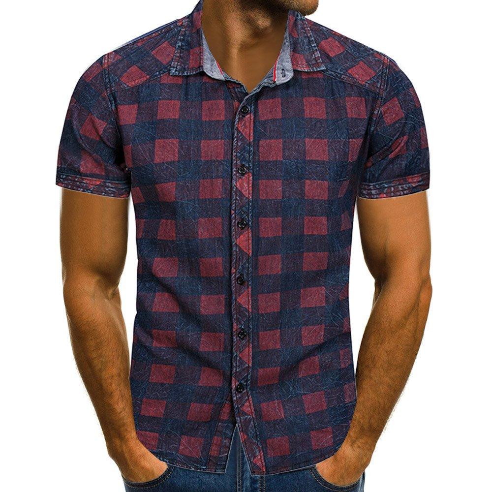 Manadlian Chemise à Carreaux Hommes Boutonné Chemisette à Manche Courtes T-Shirt Été Décontractée Revers Pullover Blouse M-XXXL