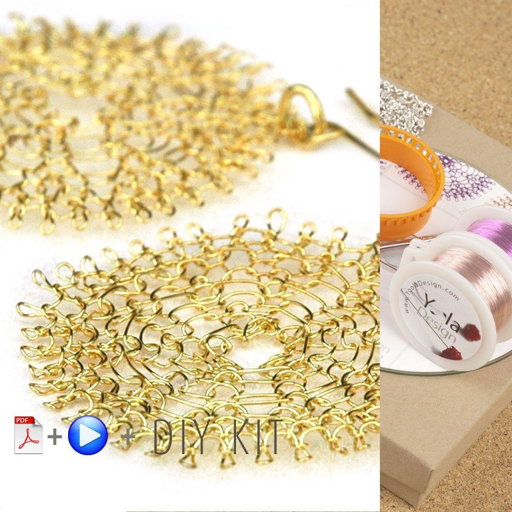 Handmade Making Jewelry Kit - Flower Pendant DIY Pattern and Supply Crochet Kit - Making Jewelry Findings - Beginners Craft Kit