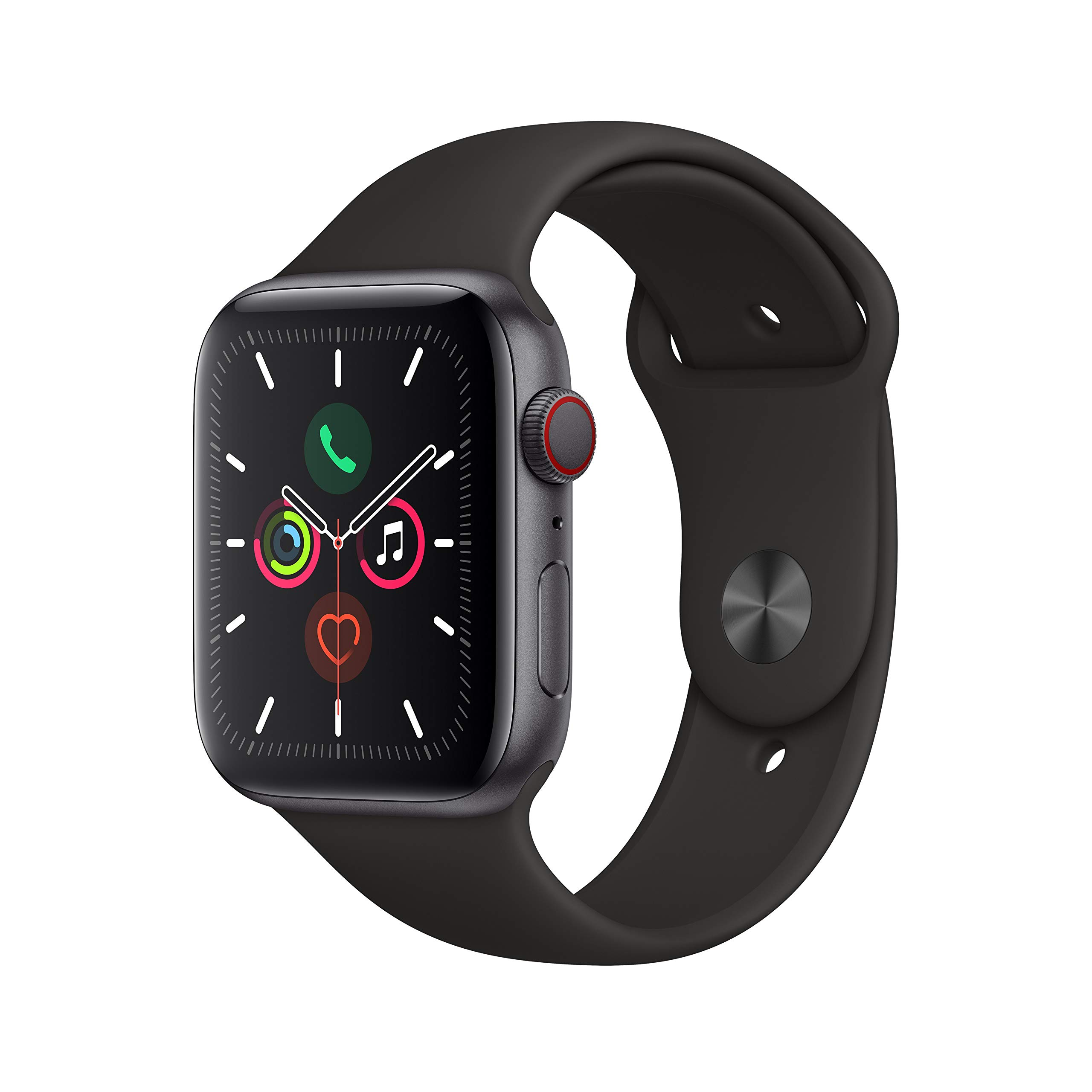 Apple Watch Series 5 (GPS + Cellular, 44mm) - Space Gray Aluminum Case with Black Sport Band by Apple