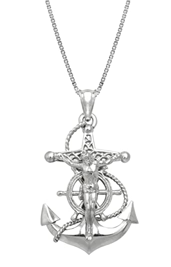 Amazon sterling silver crucified jesus on an anchor necklace sterling silver crucified jesus on an anchor necklace pendant with 18quot aloadofball Choice Image