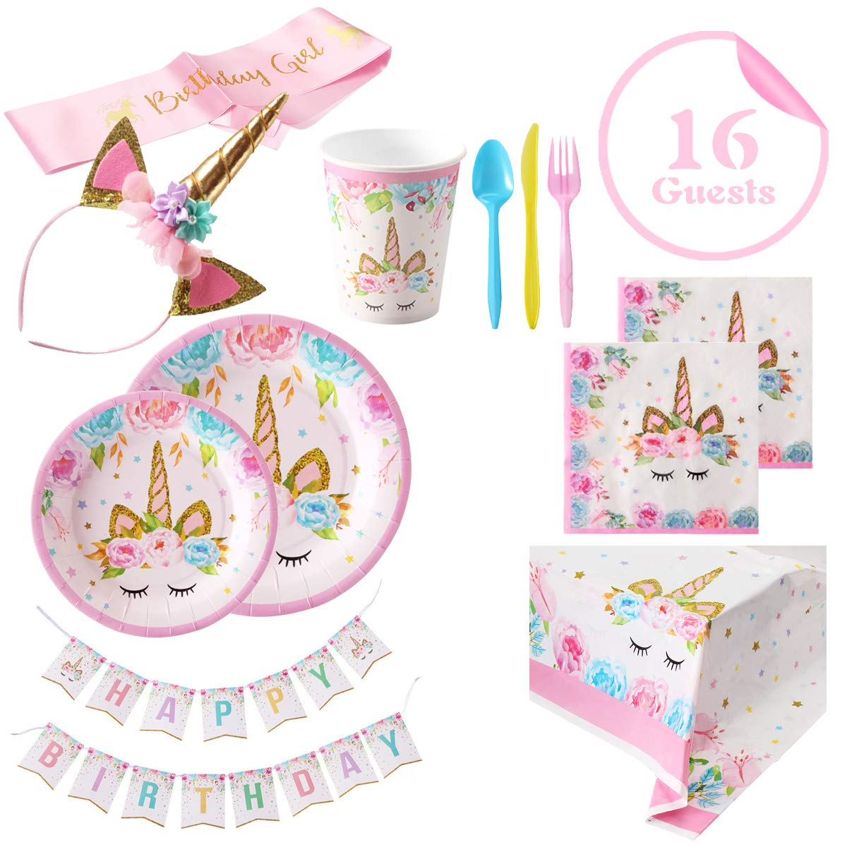 Unicorn Party Supplies Set - 2018 New Set of 16 Including Cake Plates, Cups, Napkins, Tableware, Table Cover, Birthday Banner, Unicorn Headband and Pink Satin Sash, Magical Fantasy Birthday Decoration for Girls