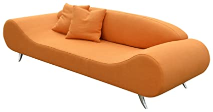 Soho Concept CPST OT Harmony Sofa With Chrome Plated Steel Tubes Base,  Orange Tweed