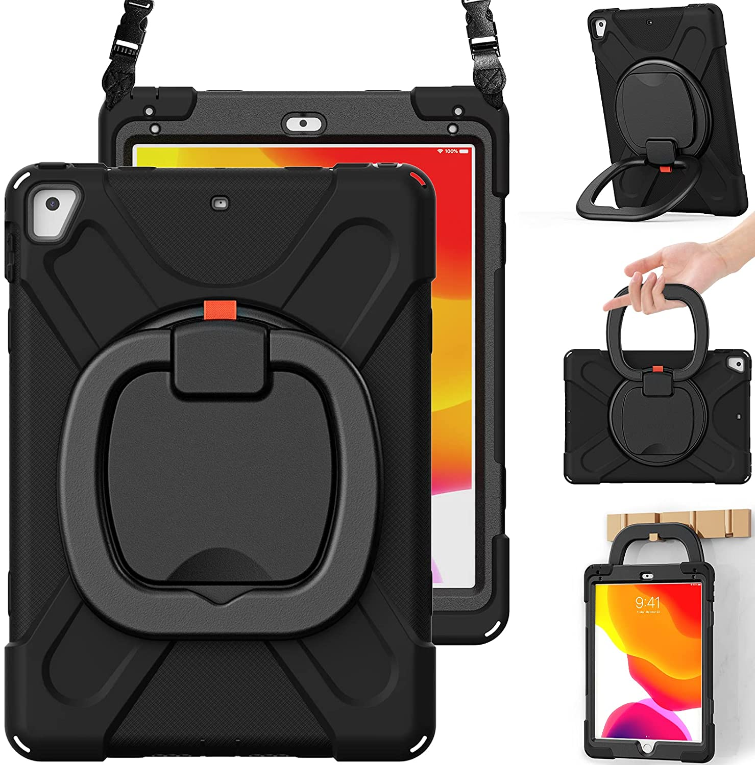 BRAECN iPad 6th/5th Generation Case, iPad 9.7 Pro case, iPad Air 2 Case for Kids, Shockproof Silicone Case with Rotatable Grip, Shoulder Strap, Pencil Holder, Stable Kickstand for iPad 9.7 Inch-Black