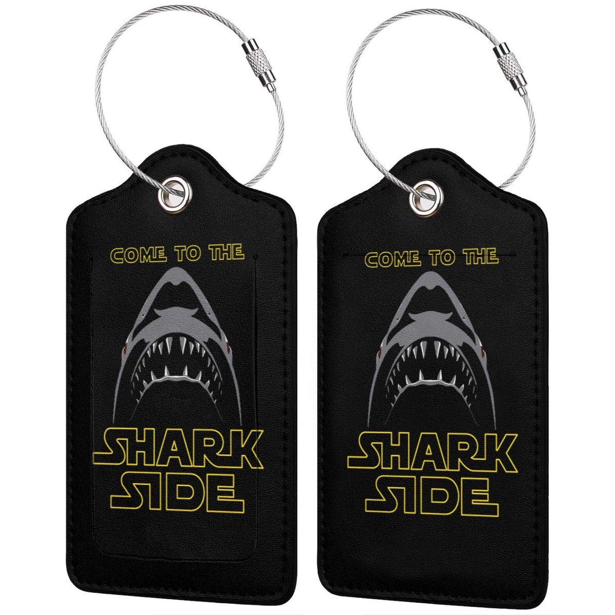 Come To The Shark Side Leather Luggage Tag Travel ID Label For Baggage Suitcase