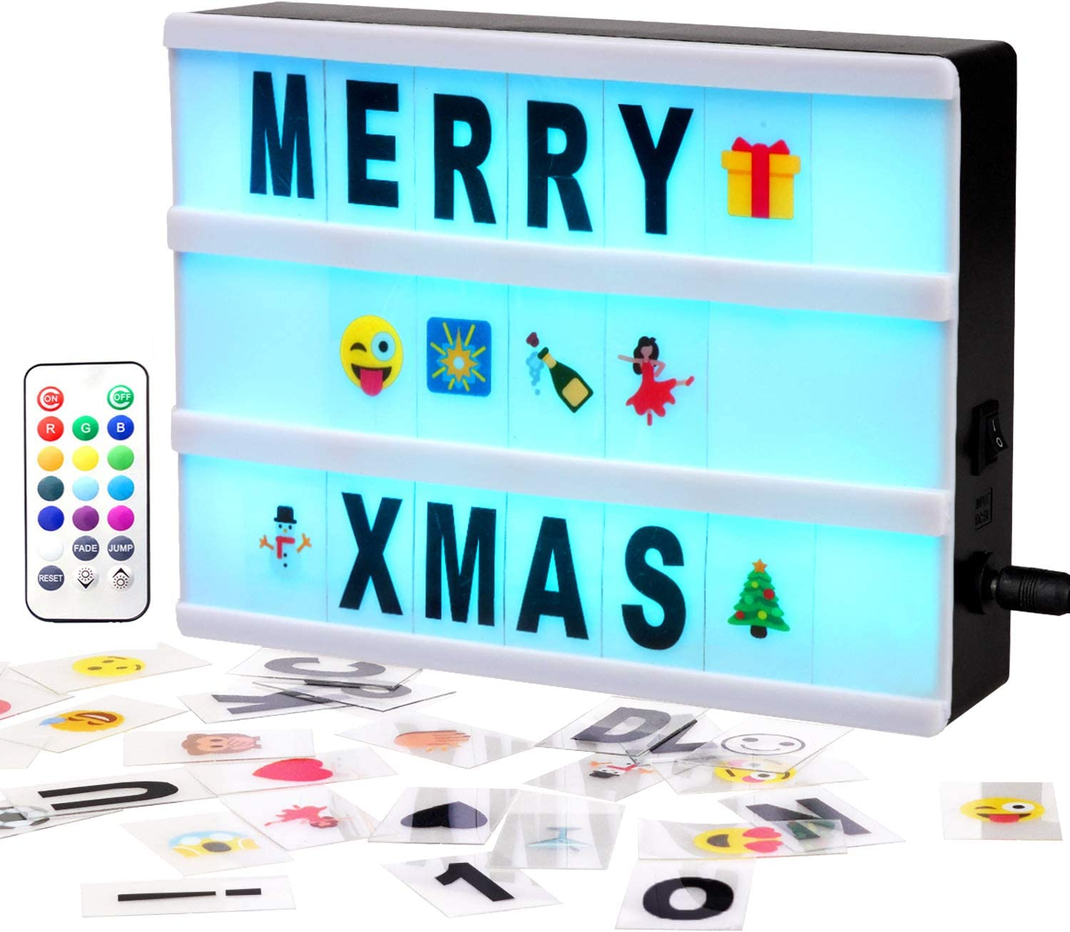 Colour Changing Cinematic Light Up Box 100 Characters Remote Control USB Cable