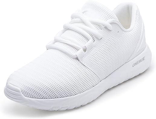 ONEMIX Zapatillas de Deporte para Hombre Calzado Deportivo para Correr Zapatillas Ligeras Transpirables (44 EU, Blanco): Amazon.es: Zapatos y complementos