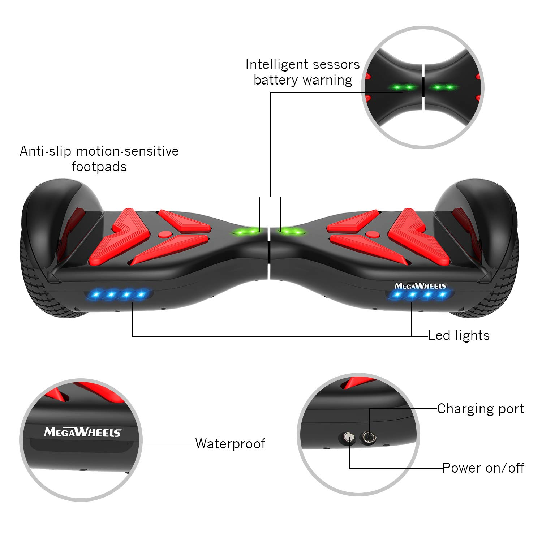 UL-Zertifiziert LED-Leuchten mit 500W Motor M MEGAWHEELS 6,5 Balance Scooter Elektroroller