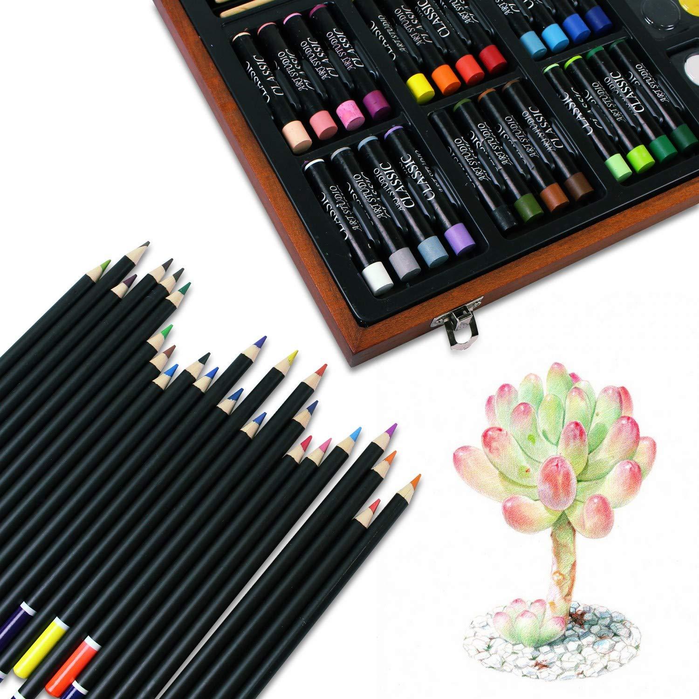 Leogreen mit Holzkiste 79 Teile K/ünstler Skizzen Set Zeichnung Art Kit Material: Holz