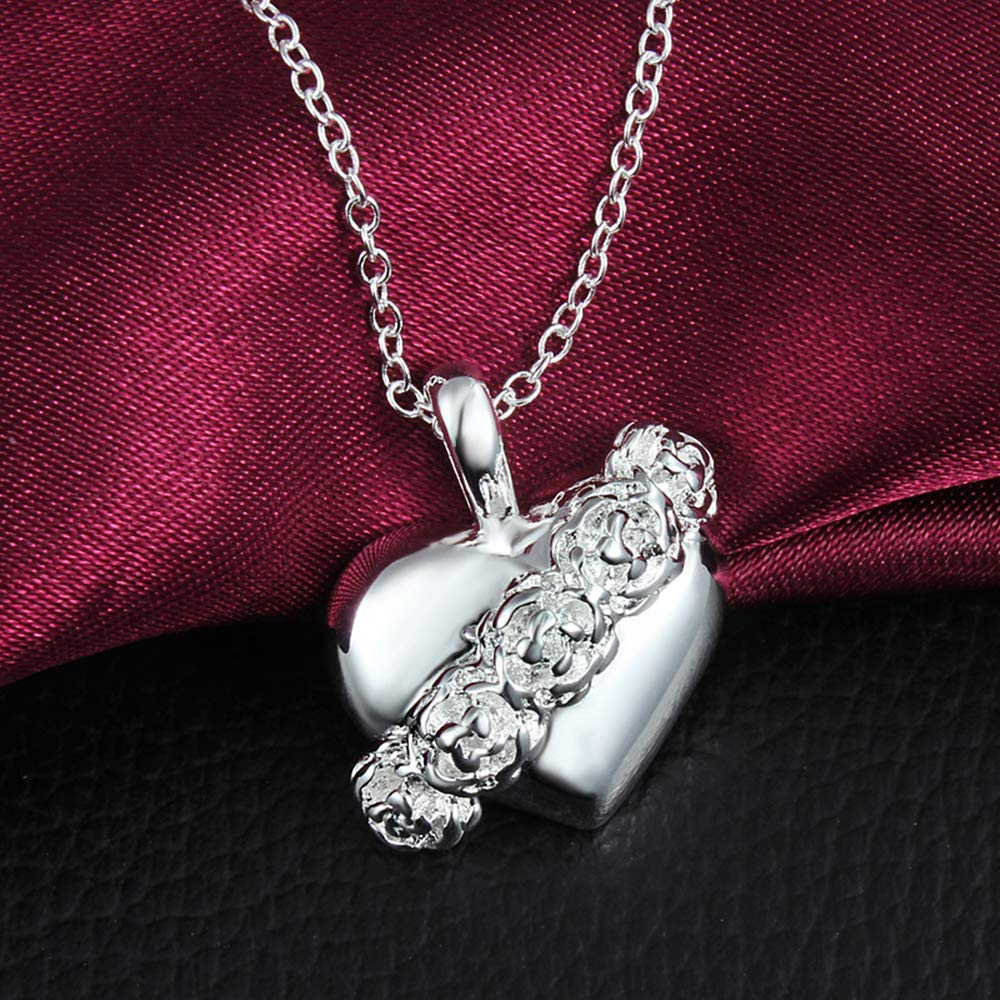 Onefeart Sterling Silver Pendant Necklace Women Rose Design Heart-Shaped Pendant 45CM Silver