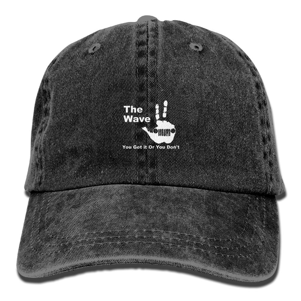 The Jeep Wave You Get It Or You Dont Plain Adjustable Cowboy Cap Denim Hat for Women and Men