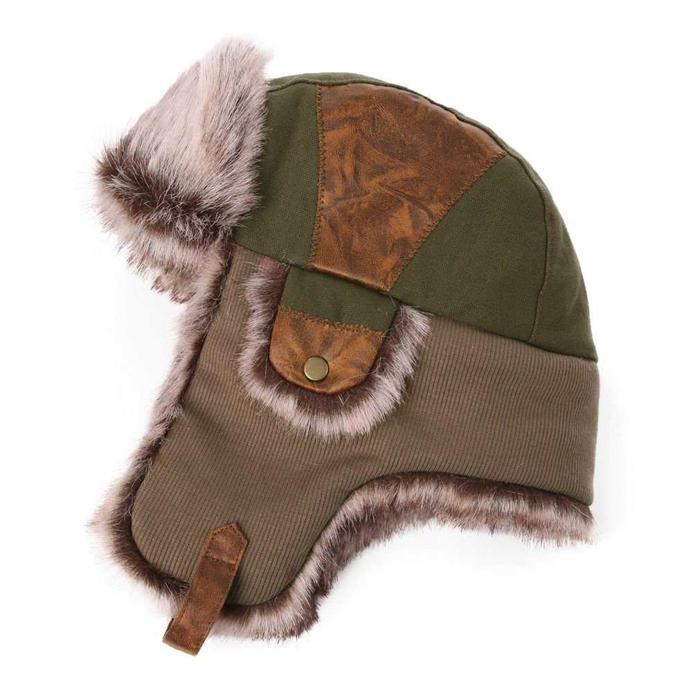 SIGGI Windproof Russian Bomber Hats for Men Earflap Trapper Hat Faux Fur  Ushanka ArmyGreen  Amazon.co.uk  Clothing e016b5ebfb3f