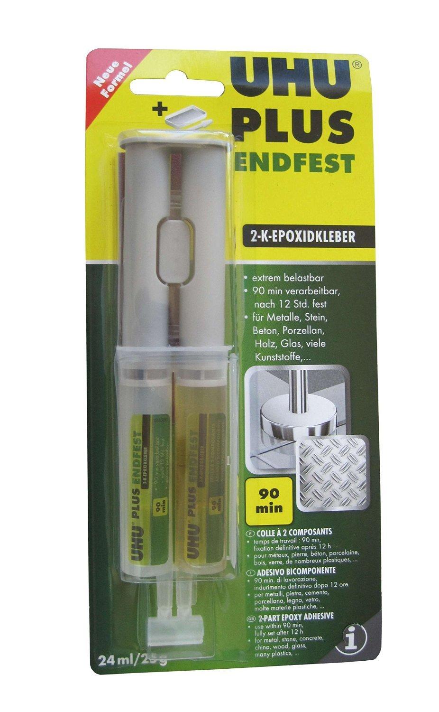 UHU PLUS ENDFEST 300, 2-Komponenten-Epoxidharzkleber, 25 g, Infokarte, 3er-Pack