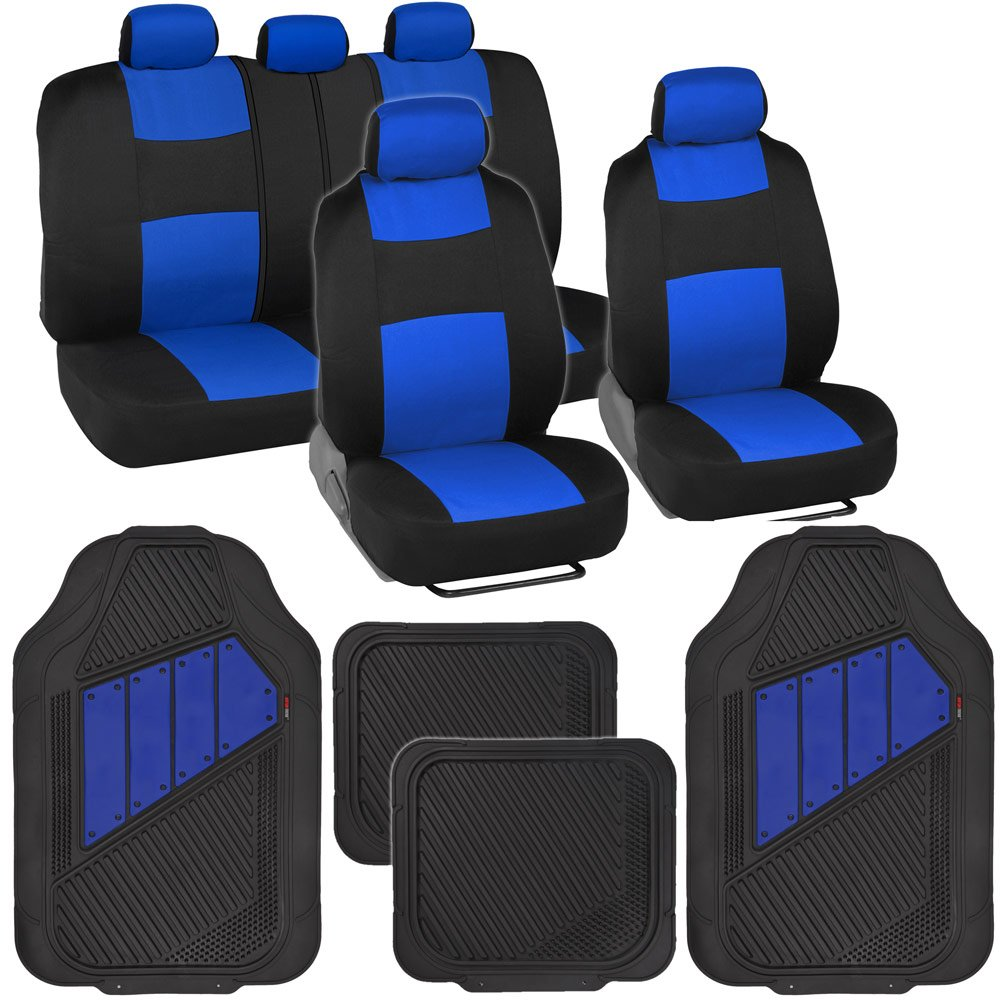 Amazon Two Tone PolyCloth Car Seat Covers W Motor Trend Dual Accent Heavy Duty Rubber Floor Mats