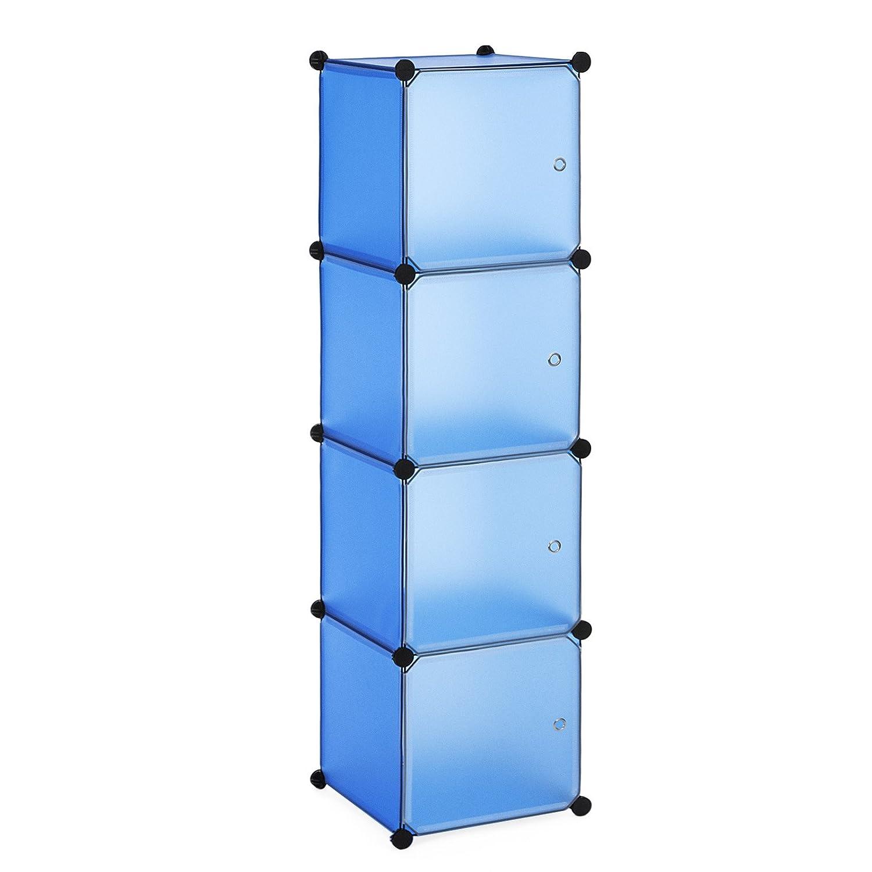 SONGMICS Armoire Penderie Cubes etagère modulables Plastiques Cadre en métal Bleu + Blanc 38 x 36 x 143 cm (L x l x h) LPC04Q