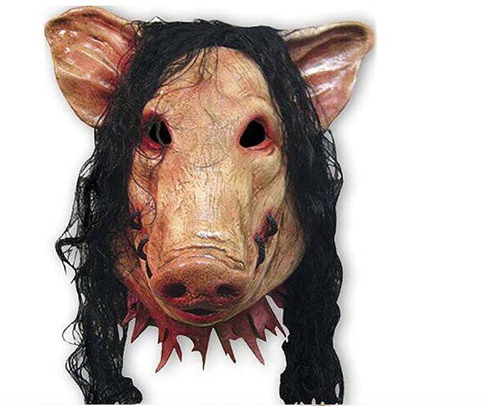 2x SET Cerdo + Máscara SAW JIGSAW con pelo sintético - Perfecto para carnaval y Halloween - Disfraz de adulto - Látex, unisex Talla única: Amazon.es: ...