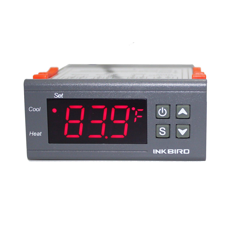 Inkbird Temperature Controller 110V Temp Thermostat Digital Control Switch 2 Relay Heating Cooling Output Fahrenheit Centigrade Display NTC Sensor Terrarium Aquarium Reptile ITC1000 by Inkbird