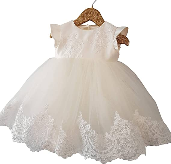 Faithclover Christening Outfit Toddler 2 PCS Formal Party Over Gowns Bonnet