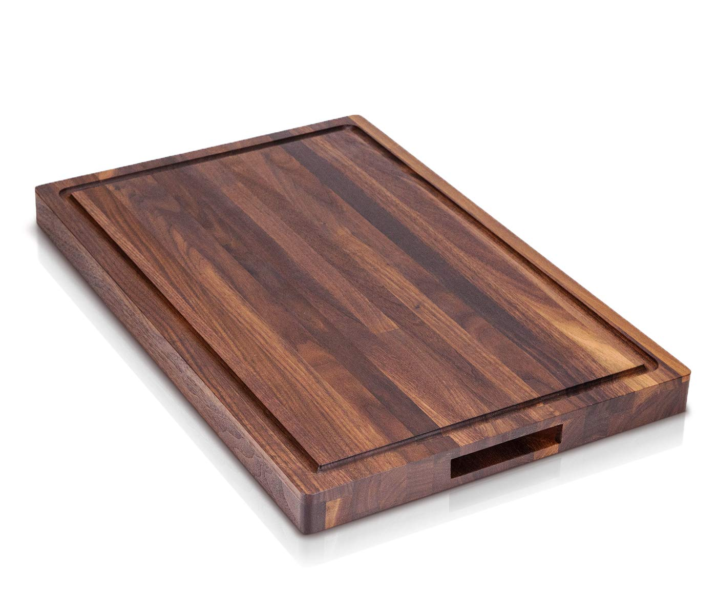 Mevell Large Walnut Butcher Block With Handles - Big Cutting Board with Juice Drip Grooves, Made from American Hardwood Walnut, Great for Chopping and Carving (Walnut, 18x12x1.25H)