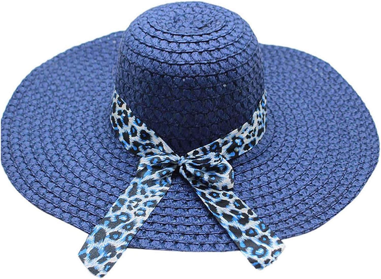 Women Leopard Print Big Brim Straw Hat Sun Floppy Wide Brim Hats Beach Cap hat Women Summer