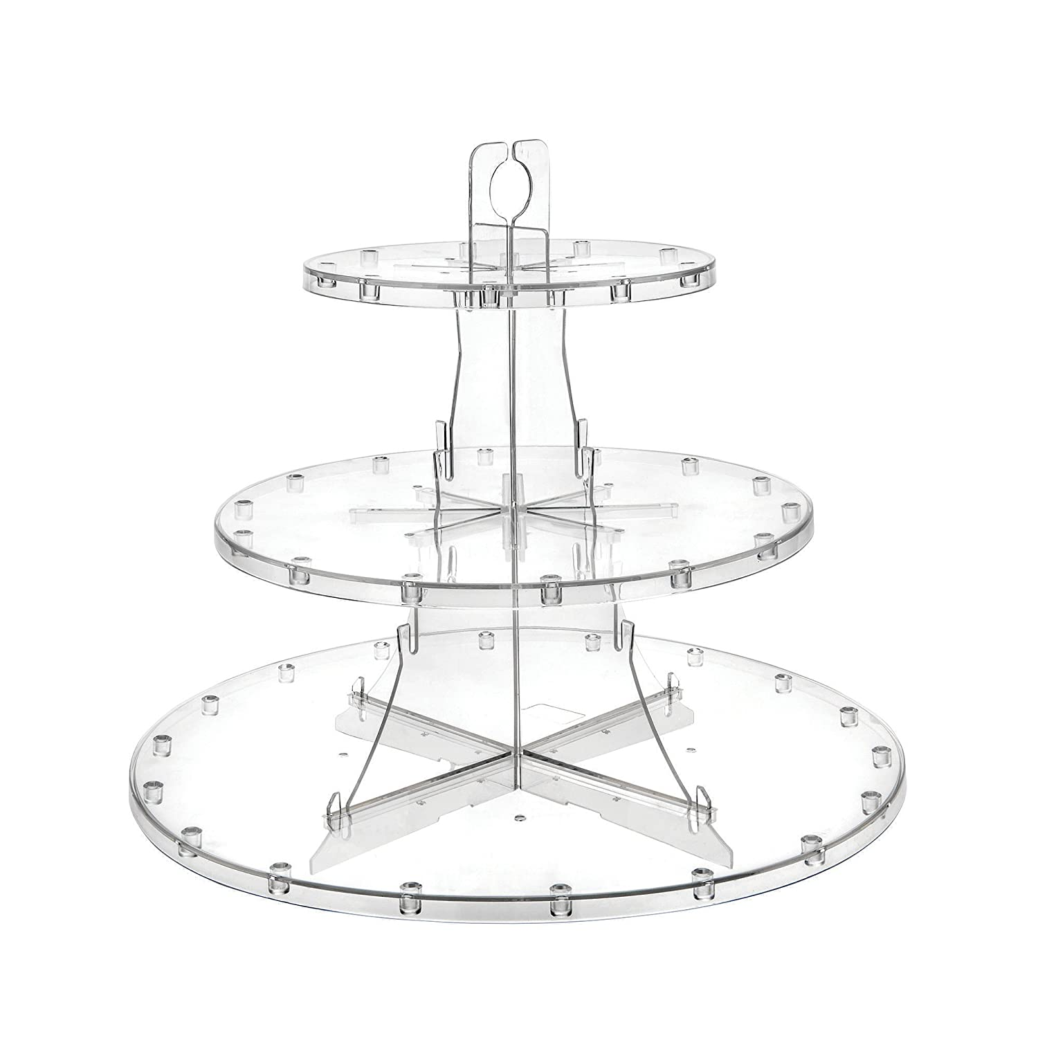 """Deflecto 3 Tier Dessert Stand, Adjustable Tiers, Serving Platter, Display Cupcakes, Cake Pops, Fruits and Danish, 13.25"""" x 11.3"""" x 13.25"""" (20201CR)"""
