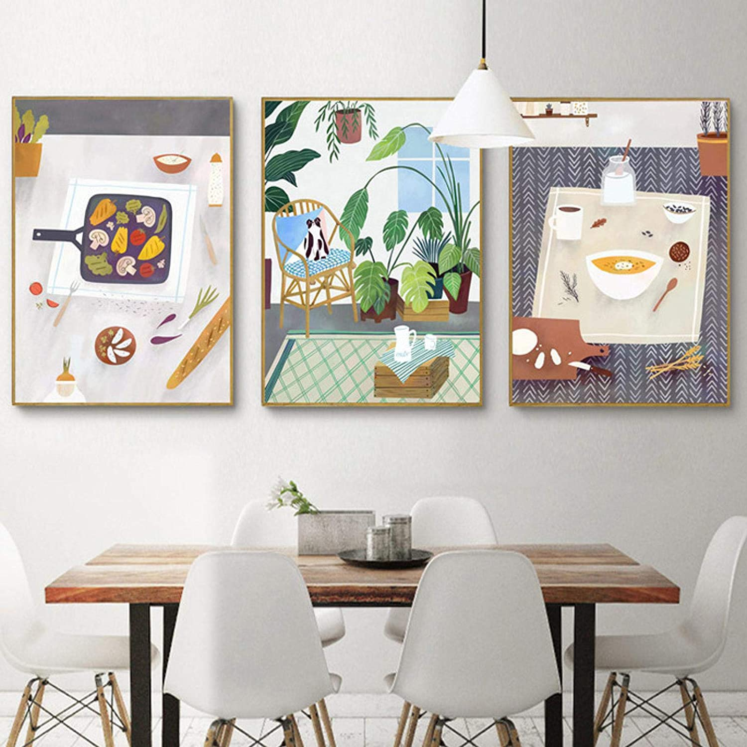 Canvas Art Print Illustration Cartoon Poster Wall Art Delicious Food Green Plant Modern Wall Picture Living Room Kitchen Decor-50x70cm No Frame
