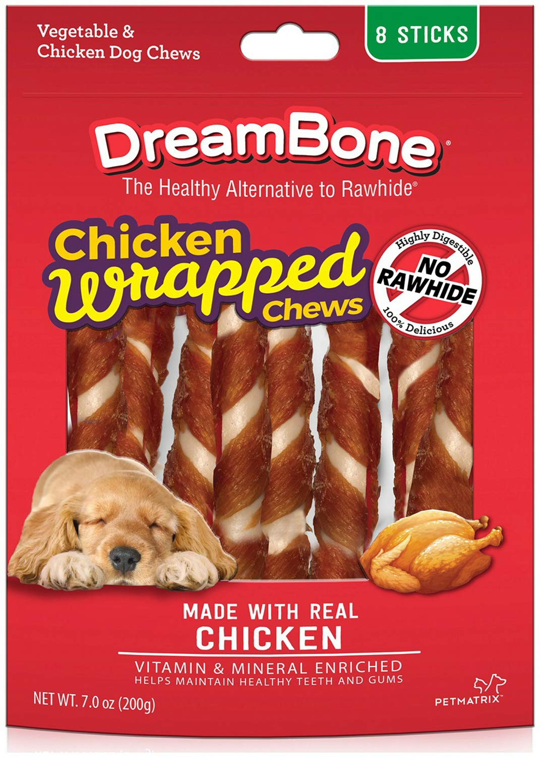 DreamBone Chicken Wrapped Sticks Dog Chews, Large, 8 Count, 24 Pack