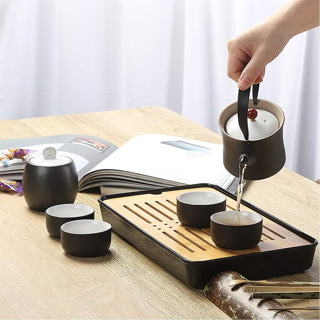 Tea sets Japanese Minimalist Black Ceramic Teapot, Travel Outdoor Travel Teapot and 6 Teacup, Kung Fu Tea Set of 8 by Tea sets (Image #4)