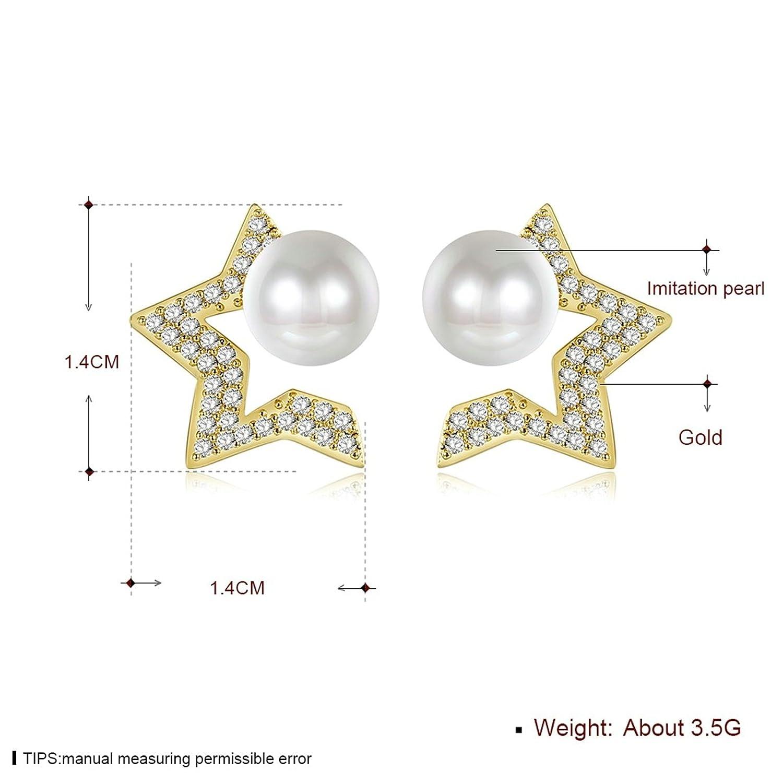 Epinki Women Earrings Gold Star Earrings Yellow With Cubic Zirconia