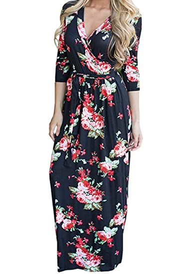 92e20197d3bc Allfennler Women s Floral Printed Belt Casual Summer Beach Maxi Dress at Amazon  Women s Clothing store