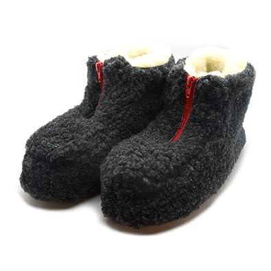 7d3bb42aa62d4 100% Dark Grey Sheep Wool Boots Cozy Foot Slippers Soft Sole Sheepskin  Womens Mens