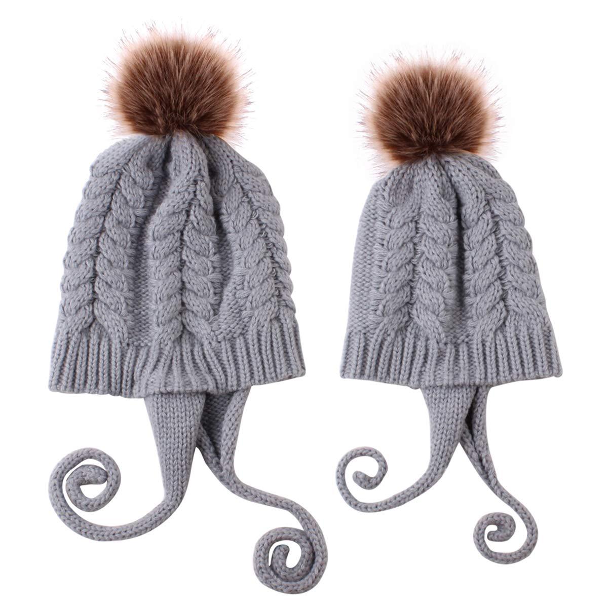 Haokaini Conjunto de Sombreros para mam/á y beb/é Gorro de Invierno c/álido de Punto para Padres e Hijos Kits de Sombreros para beb/és con Pompones para beb/és y ni/ñas