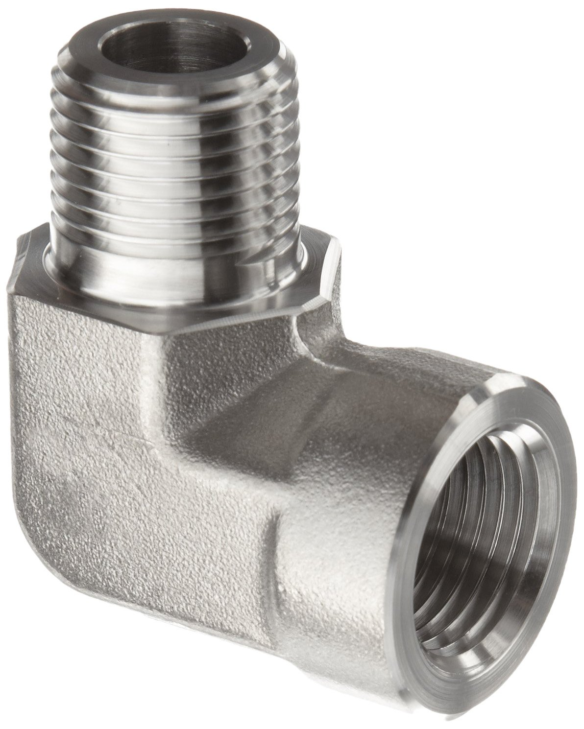 Parker Stainless Steel 316 Pipe Fitting, 90 Degree Street Elbow, 1/8'' NPT Male X 1/8'' NPT Female