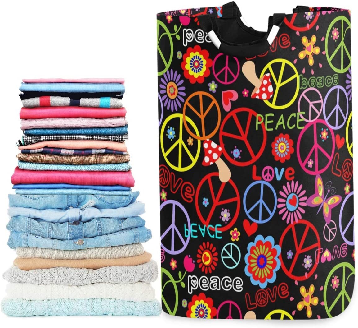 visesunny Collapsible Laundry Basket Hippie Peace Symbol Mushroom and Abstract Flower Large Laundry Hamper Oxford Fabric Dirty Clothes Toy Organizer with Handle for Bathroom Kids Room Dorm