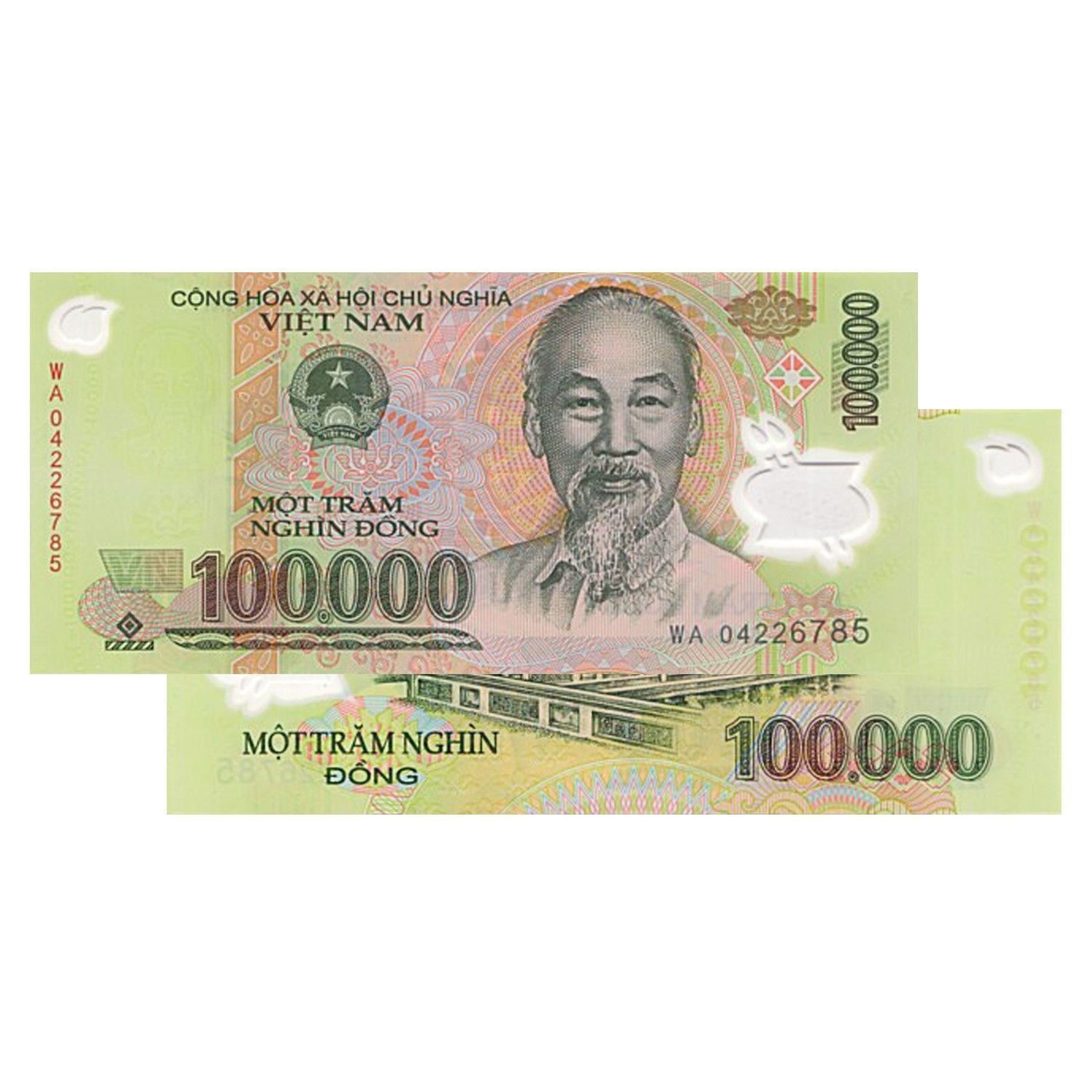 10 PCS Vietnam 100,000 Dong Currency VND Banknotes - History, Very Rare For collectors