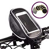 BTR Handlebar Bike Bag Pannier with Mobile Phone Holder with Clear PVC Screen - Water Resistant - Black. Includes 6 x Bike Puncture Repair Self Adhesive Patches