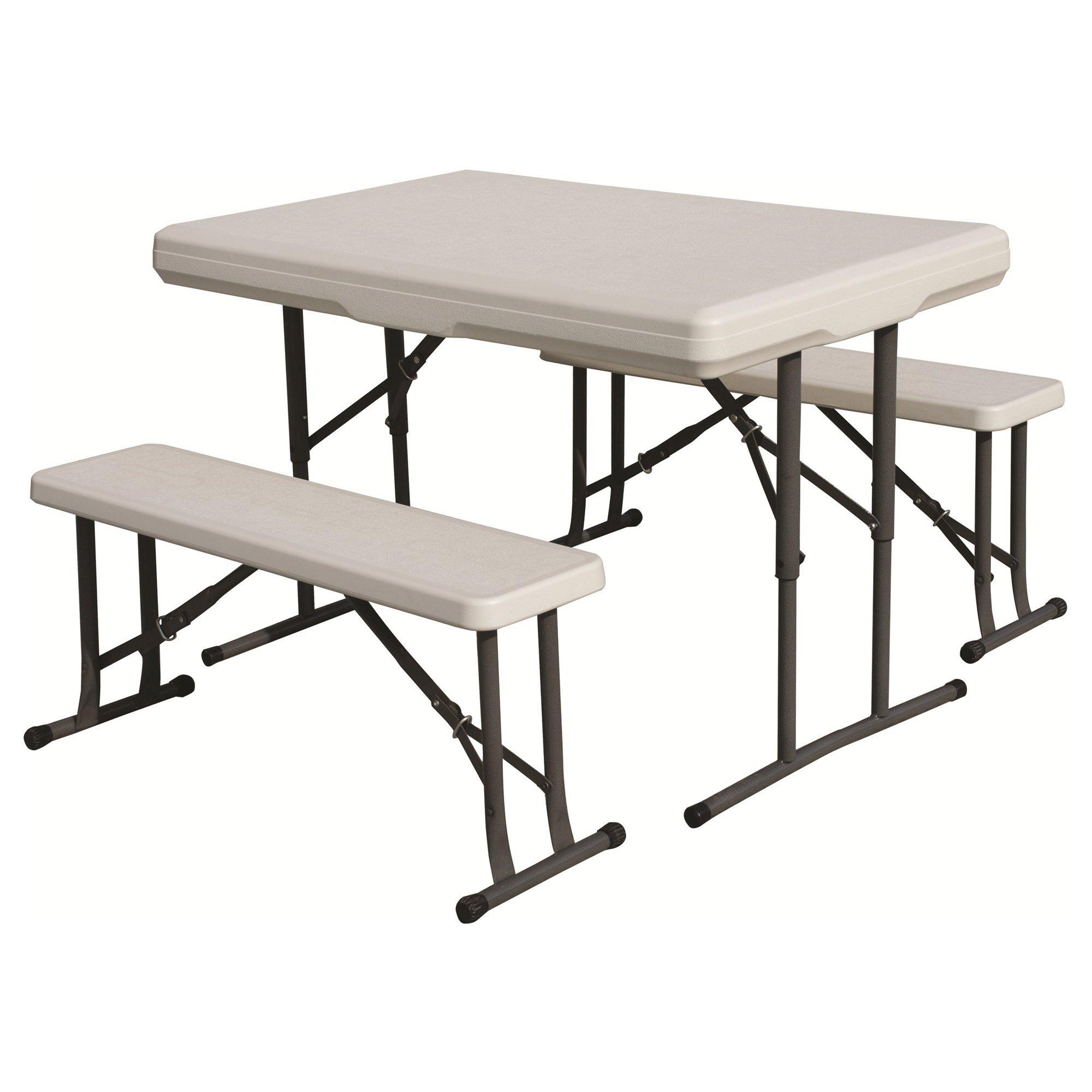 Folding Tbl W Bench Seats Wht ''Prod. Type: Camping/Furniture''